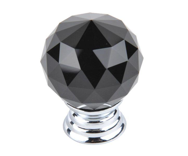 Knopka 40mm, křišťál černý/lesklý chrom