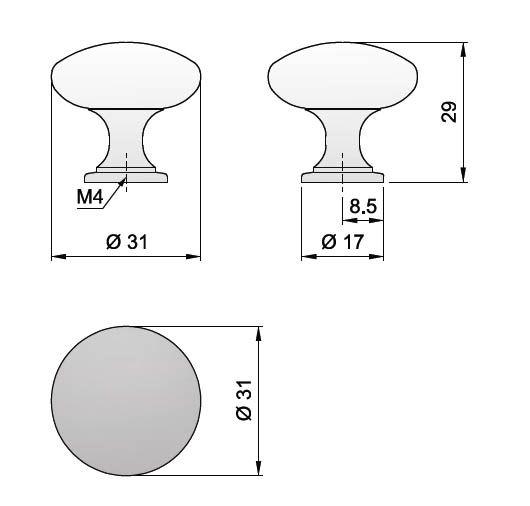 Knopka kovová mosaz pr.30mm