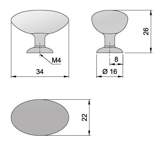 Knopka kovová elypsa 34x16mm, chrom