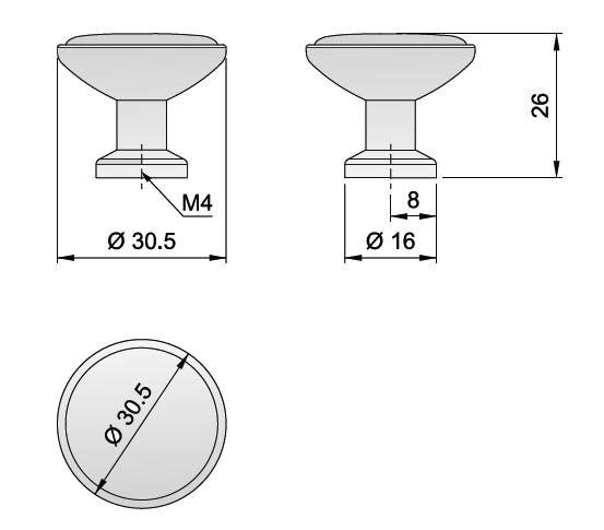 Knopka 30,5mm, porcelánová / pepř
