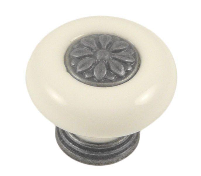 Knopka rustikální starostříbro/porcelán