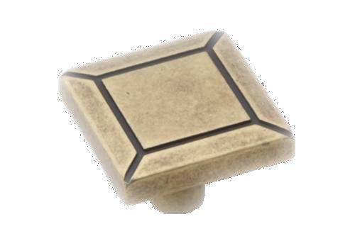 Knopka čtverec 30x30mm, staromosaz, rustikální