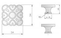Knopka rustiko čtverec 34x34mm, staromosaz